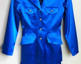 Stunning 70's Royal Blue Satin Pant Suit by Takito-Wien.  Size 4