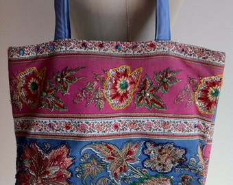 Sweet Cotton Flowered Tote with Jewels, Studs and Beads.