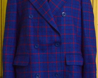 Vintage Carlisle MOD Blue Plaid Blazer Jacket 100% Wool Double Breasted Peacoat