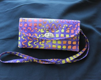 Purple and yellow Batik Necessary Clutch Wallet