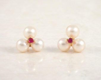 14K Yellow Gold Pearl and Ruby Earrings