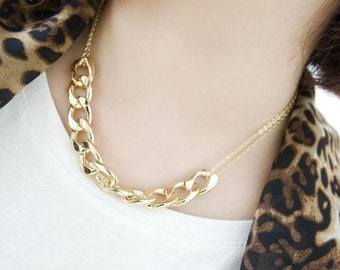 Gold Double Chain, Link Necklace, Two Chain Necklace, Chunky Gold Chain, Minimalist Necklace, Birthday Gift