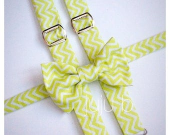 Lime Chevron Bow Tie and Suspender Set   Lime Green Bow Tie   Lime Green Suspenders   Mens Bow Tie   Baby Bow Tie   Lime Chevron Set