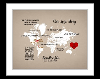 Personalized love story map, anniversary gift idea for couples, wedding gift for bride and groom, custom locations