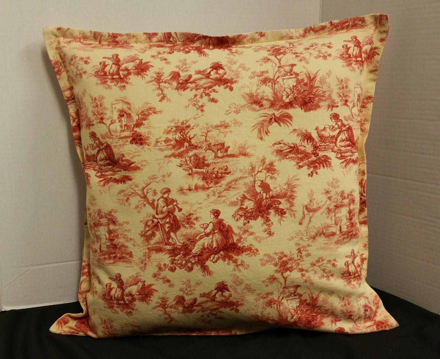 Toile pillow cover French country for throw pillows yellow