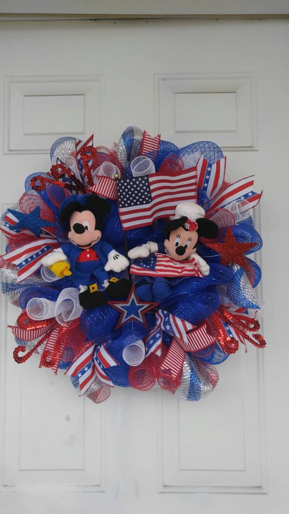 Mickey Mouse Patriotic Mesh Wreath Minnie Mouse Mesh Wreath