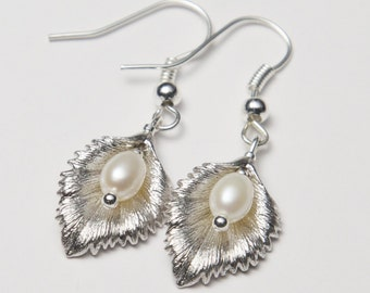 Silver Leaf Earrings, with Freshwater Pearls. Silver Pearl Earrings. Leaf Earrings.