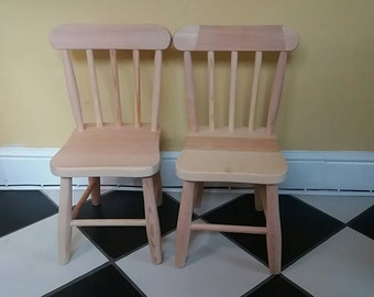 Children's wooden chairs.