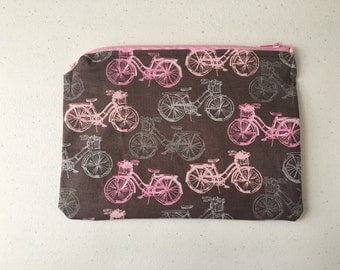 Gray and pink bicycle zipper pouch