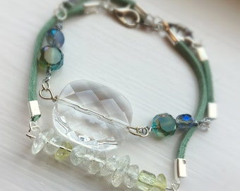 Mermaid Blue and green glass bead Stackable bracelet
