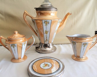 Fraunfelter Royal Rochester Lusterware Percolator Set