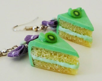 Miniature kiwi cake with purple bow, sweet earrings, polymer clay, Miniature Food Jewelry