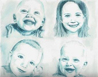 watercolor painting,custom painting,watercolor portrait,photo to art, custom art,painting,personalized,gift, child painting, custom portrait