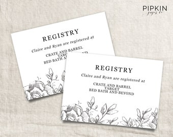 Printable wedding registry card wedding info card template for When do you register for wedding gifts