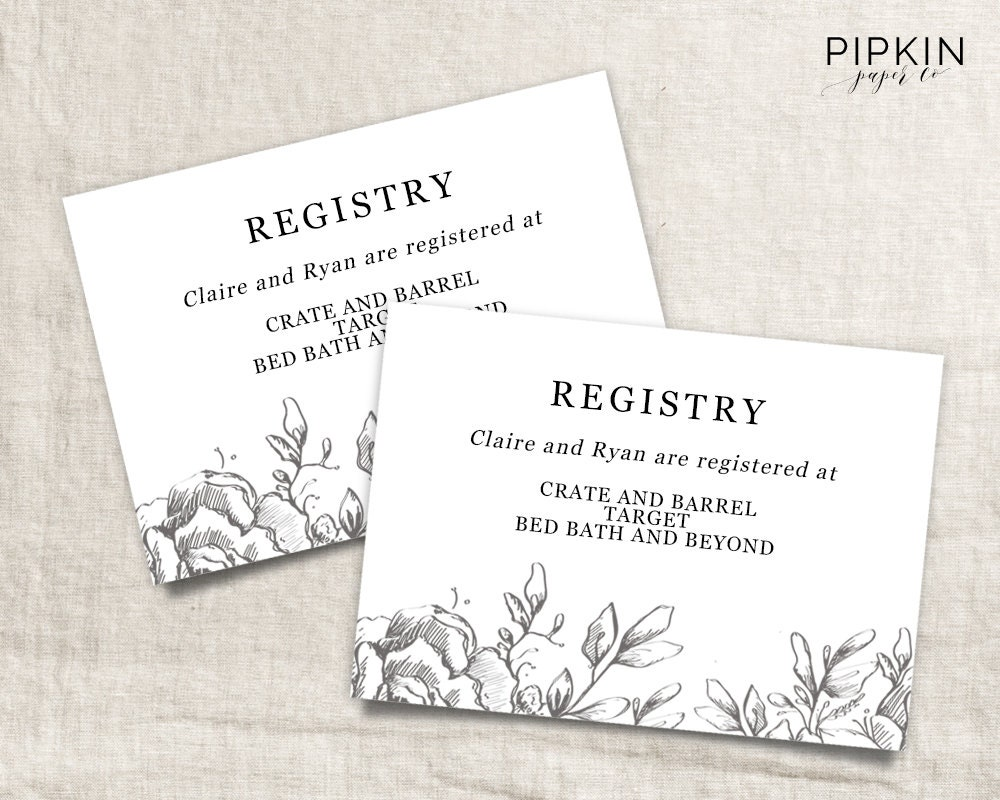 How Many Gifts To Register For Wedding: Wedding Registry Card Wedding Info Card Download Registry