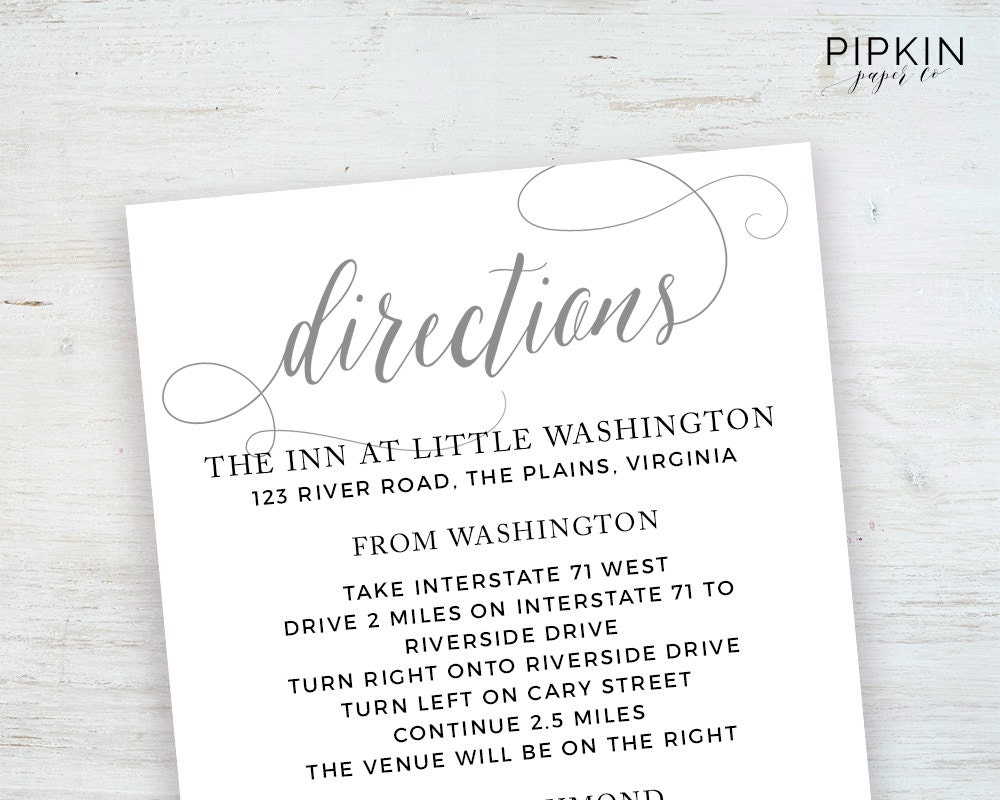 Wedding details template information card template wedding wedding directions card template printable wedding invitation digital download for word fully customizable stopboris Choice Image