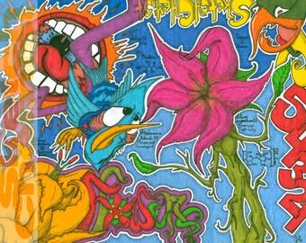 Flowers; 8.5x11 inch signed art print trippy poster nature sun wild hummingbird lily folk sublime graffiti pop grateful dead~Sketch Chemist