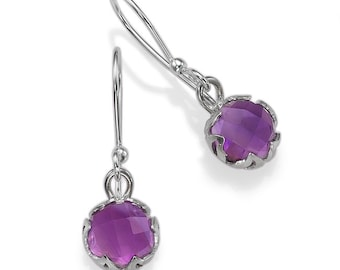 Sterling Silver With Amethyst Stones Earrings Amethyst Drops