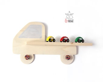 Wall shelf Truck, Baby or toddler or kid's room. Birthday or Birthing Gift idea. French handcraft. Natural wood. Wall hooks. Floating shelf.
