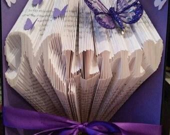 Folded book art mum purple mothers day gift