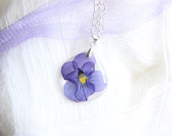Real Flower pendant - necklace with flower- epoxy resin - nature made - jewelry with real flowers - pressed flower petals-pansies