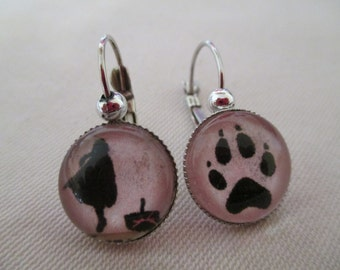 Cabochon earrings the Riding Hood and the Wolf