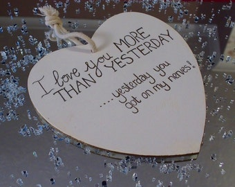 Hanging wooden sign, perfect gift for Valentine's Day