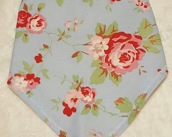 Blue/Pink Flower Fashion Bibdana/Dribble Bib