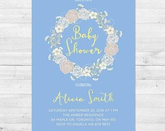 Baby Shower Invitation Boy, Boy Baby Shower Invitation, Rustic Baby Shower Invitation, Blue And Yellow Baby Shower Invitation
