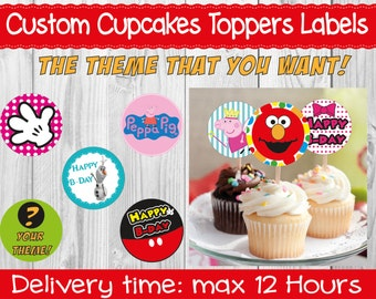 Custom Cupcakes Toppers Labels   Parties and Parties