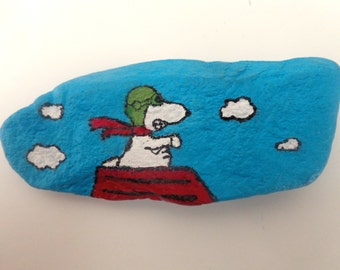 Painted PEANUTS rocks: Flying Ace Snoopy