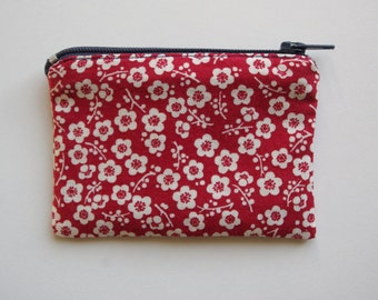 Makeup purse red Japanese fabric