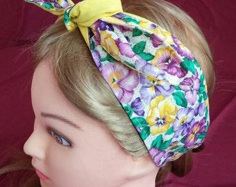 Headband hair wraptie bandana Pansies print 100% Cotton