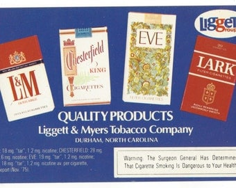 1960s postcard Advertising Cigarettes LIGGETT MYERS tobacco group W/Eve Cigarettes