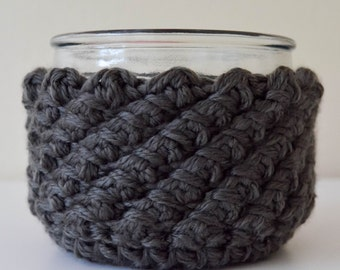 Crochet Jar Cosy, Round Crochet Basket, Reversible Basket