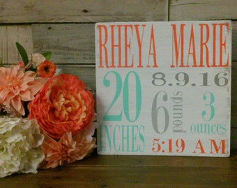 Birth Announcement Wood Sign wall art decor Baby Stats Weight Height Time Rustic Wooden Nursery