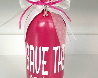 Pink breast cancer save the Hooters decorative bottle,breast cancer bottle,breast cancer decor,breast cancer survivor,cancer survivor,