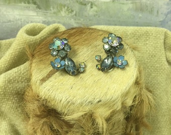 Vintage Clip-On Turquoise Glass Earrings