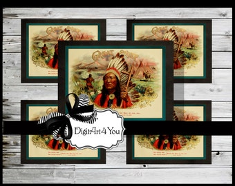 Digital collage/Southwest/Cigar/Cigar Box/Indian Chief/Headdress/Native American/Indian/New Mexico/Unusual/Digital Download/Vintage Art