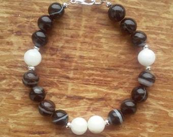 banded onyx and howlite bracelet