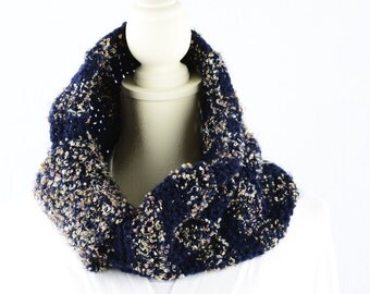 Cowl in Navy Blue with Blush White and Gold Flecks