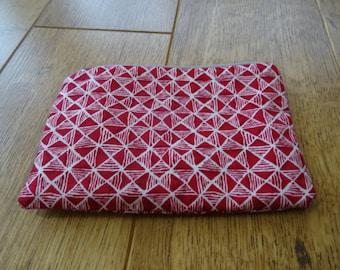Red Geometric Makeup bag or pencil case