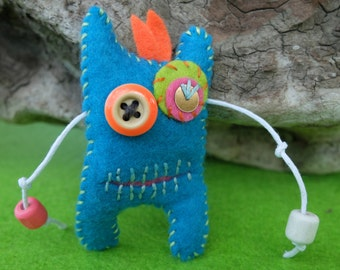 Monster brooch, Felt brooch, Blue toy, Pocket monster toys, Halloween jewelry, Felt Monster toys, Monster miniature toy, Gift for kids, Pin