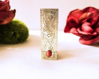 Antique Italian Silver Lipstick Case Carnelian Coral Cabochon 800 Silver Vintage Lipstick Case