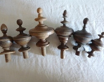 6 antique French matching hand turned wooden finials