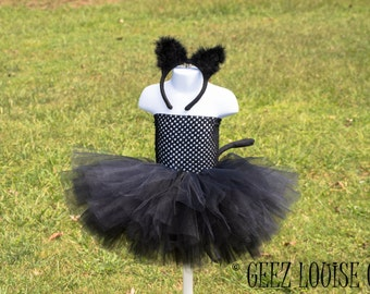 Black Kitty Cat  Halloween Tutu Costume  Girl Skirt Boutique Bows Clothing Baby Toddler  Outfit