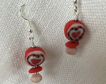 Valentine's Day, heart polymer clay earrings