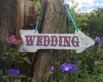 Custom Arrow Sign Weddings, Party Signage, Personalized Rustic Wedding Decor, Hand Lettered Wedding Reception Welcome, Event Signage