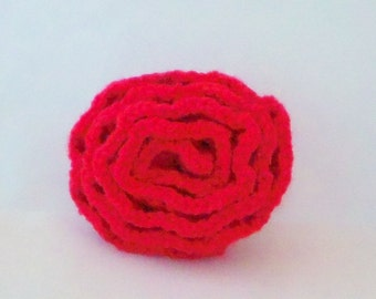 Spindle-shaped red rose point rib-knitted