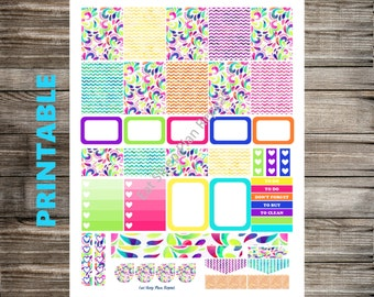 PRINTABLE for Erin Condren Bright Abstract Multicolor Weekly Planner Sticker Kit Vertical Layout Spring Summer